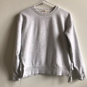 Marine Layer Grey Cropped Sweater with Ties Size S